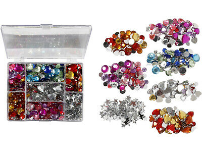 300 Assorted Colour & Shape Rhinestone Jewels for Crafts