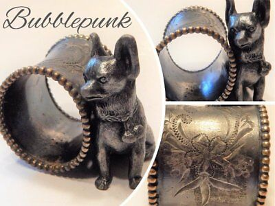 Antique ROGERS Signed Silverplate Figural Napkin Ring ~ Dog