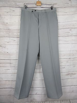 Vtg Light Grey Straight Leg Wool Blend Trousers 80s Does 60s W34 L31 DE50