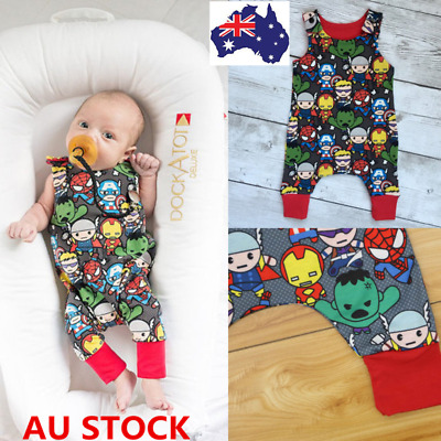 Baby Boys Cartoon Superman Jumpsuit Sleeveless Romper Bodysuit Outfits Clothees