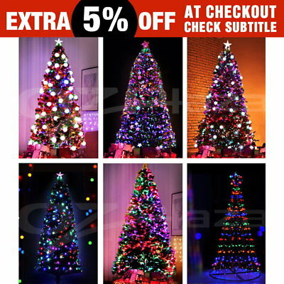 LED Christmas Tree Optic Fiber Xmas Star Green Multi Colour 1.8M 2.1M 2.4M 3.6m