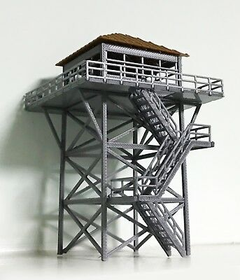 Outland Models Railway Scenery Watchtower / Lookout Tower (Grey) HO Scale 1:87