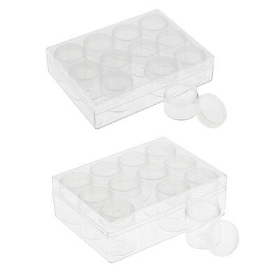 Plastic Craft Beads Jewelry Storage Container Compartment Tool Box 12 Bottle Jar
