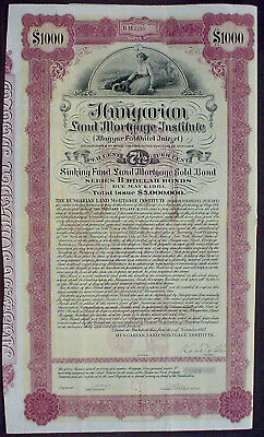 Hungary, 7 1/2% Land Mortage Gold Bond 1000 ‎US$ to Bearer 1927