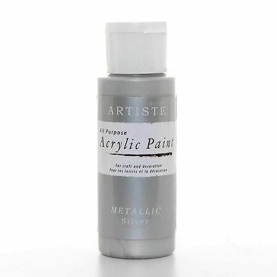 DoCrafts Artiste Silver Metallic Acrylic Craft Paint - 59ml