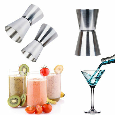 UK Stainless Steel Double Single Shot Measure Jigger Spirit Cocktail Drink Cup