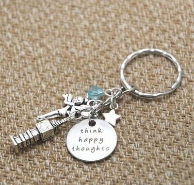 Peter Pan Tinkerbell Fairy Think Happy Thoughts Keyring Keychain Handbag Charm
