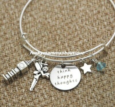 Peter Pan Tinkerbell Fairy Think Happy Thoughts Wire Bangle Charms Bracelet
