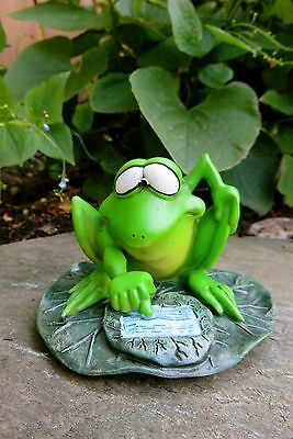 COOL FROG WITH I PAD TABLET W.Stratford 6.5 in.New Garden Ribbitz Collection
