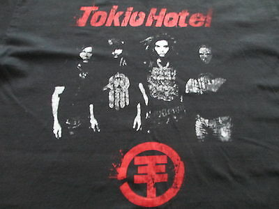 Tokio Hotel World Tour 2008 Black White Red T Shirt Size S Small M Medium