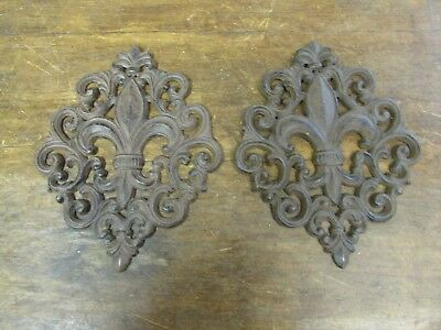 Pair Fleur de liz Iron Architectural Wall Art-Handmade-Wall Decor-Scroll-8x10
