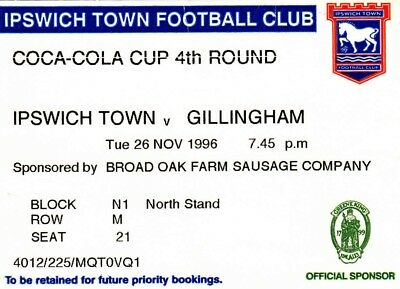 Ticket - Ipswich Town v Gillingham 26.11.96 League Cup
