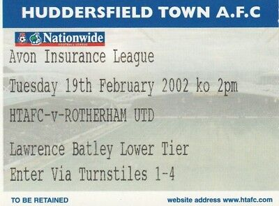 Ticket - Huddersfield Town Reserves v Rotherham United Reserves 19.02.02