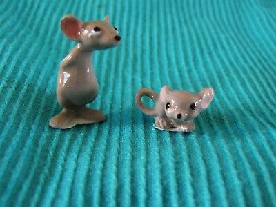 Lot Of 2 Miniature Tiny Hagen Renaker Mouse Mice Figurines * Both Fit On A Dime