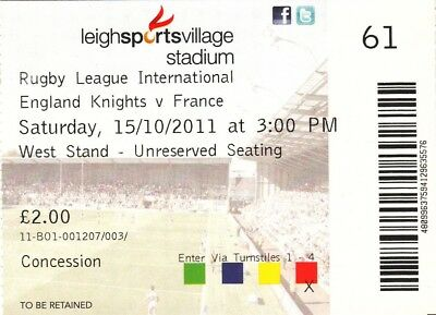 Ticket - England Knights v France 15.10.2011 @ Leigh Sports Village