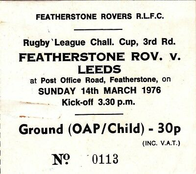 Ticket - Featherstone Rovers v Leeds 14.03.1976 Challenge Cup 3rd Round