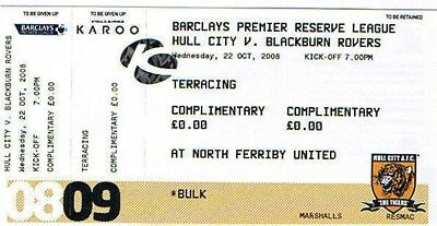 Ticket - Hull City Reserves v Blackburn Rovers Reserves 22.10.08