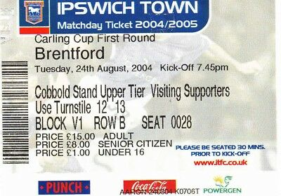 Ticket - Ipswich Town v Brentford 24.08.04 League Cup