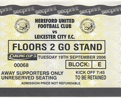 Ticket - Hereford United v Leicester City 19.09.96 League Cup