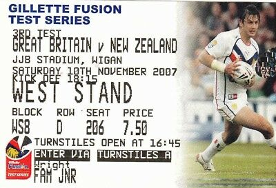 Ticket - Great Britain v New Zealand 10.11.2007 3rd Test @ Wigan