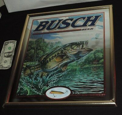 Busch Beer Mirror Sign Bass Fish Lure Vintage Framed w/ Plastic Wrap NOS (h150)