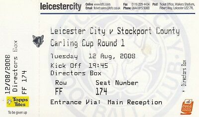 Ticket - Leicester City v Stockport County 12.08.08 League Cup