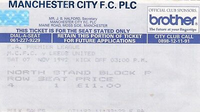 Ticket - Manchester City v Leeds United 07.11.92