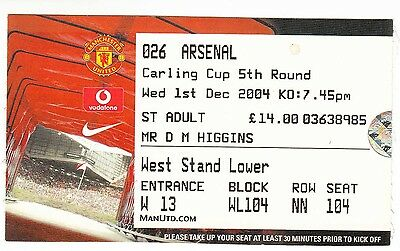 Ticket - Manchester United v Arsenal 01.12.04 League Cup