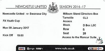 Ticket - Newcastle United Youth v Swansea City Youth 09.01.17 FA Youth Cup