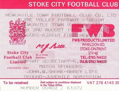 Ticket - Newcastle Town v Stoke City 02.08.92