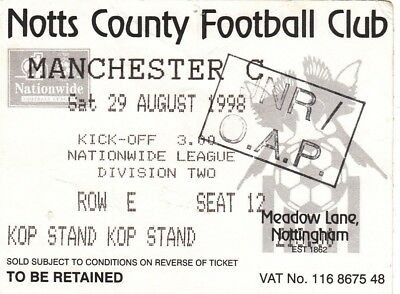 Ticket - Notts County v Manchester City 29.08.98