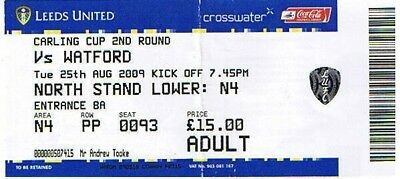 Ticket - Leeds United v Watford 25.08.09 League Cup