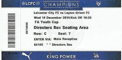 Ticket - Leicester City Youth v Leyton Orient Youth 14.12.16 FA Youth Cup