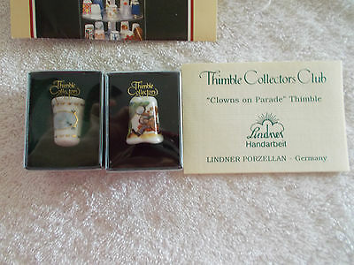 2 TCC Thimbles New In Box  Clowns On Parade, Doves Thimble NIB
