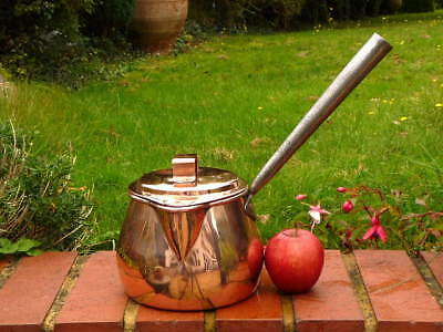 GEORGIAN ANTIQUE COPPER 2 1/2 PINT KITCHEN SAUCEPAN with SHAPED COVER