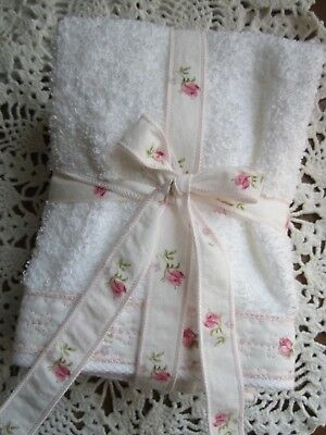 Charming Sweet White Cotton Washcloths trimmed with Laura Ashley Lidia Rosebuds+