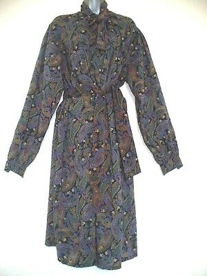 True Vintage Good Housekeeping Paisley Pure New Wool Dress Size 16/18