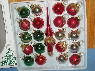 Lot of Small 24 Vintage Rauch Glass Christmas Tree Ornaments