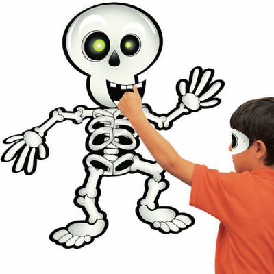 PIN THE SMILE ON THE SKELETON PARTY GAME DONKEY TAIL kids fun Halloween activity