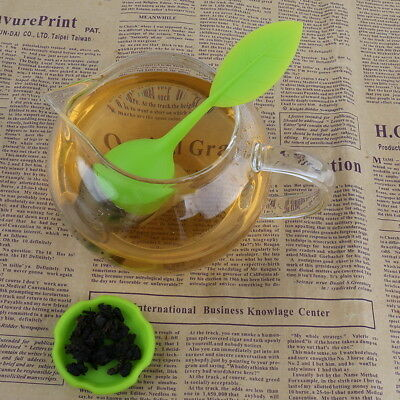 Chic Silicone & Stainless Leaves Shape Handle Tea Strainer Teaspoon Infuser