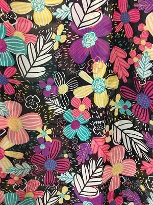 Lularoe Medium Shirley NWT Black Daisy Floral With Vibrant Flowers Yellow, Pinks