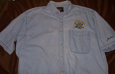 John Deere Dealer Shirt Size L 2004 Lt blue denim Certified Crop Button front