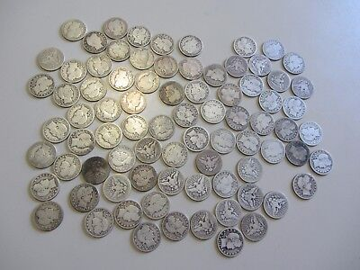 LOT OF 80 BARBER QUARTERS GOOD  TO VERY GOOD RANGE 25c