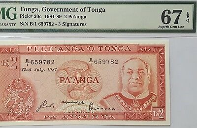 TONGA-2 PA'ANGA-1987-PICK 20c **PMG 67 EPQ SUPERB GEM UNC**FINEST KNOWN GRADE**