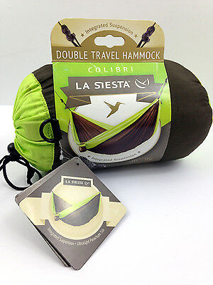 NWT La Siesta Colibri Large Double Travel Hammock Brown Green Parachute Silk