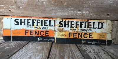 2 Vintage Metal Tin Sheffield Wire Products Fence Advertising Signs Farm Ag