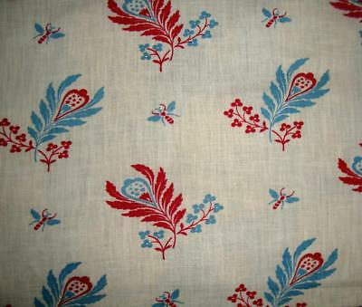 BEAUTIFUL UNUSED ANTIQUE FRENCH PROVENCAL COTTON c1910, BEES, PROJECTS REF