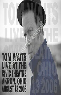 Tom Waits 2006 Akron / Cleveland Concert Poster