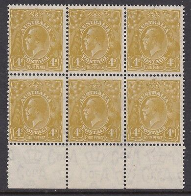 1933 4d OLIVE KGV, Watermark CofA, block of 6, Mint Never Hinged