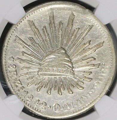 1842-Zs NGC XF MEXICO Silver 8 Reales Coin RARE 1841 Die Style (17041107D)